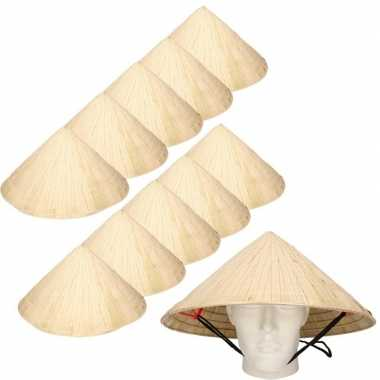 10x chinese stro hoeden / chinees hoedje met kinband