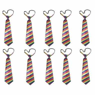 10x stropdas regenboog print