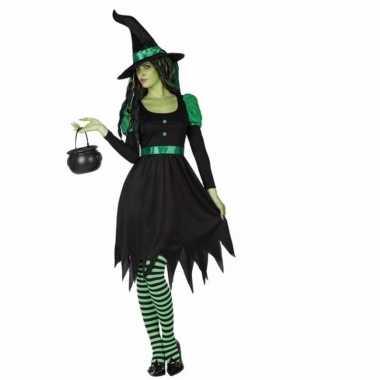 2 delig zwarte heksen verkleedkleren voor dames