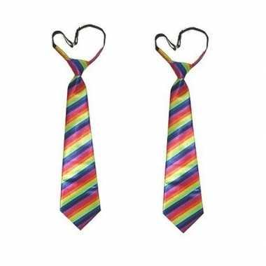 2x stropdas regenboog print
