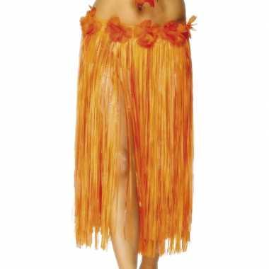 2x stuks oranje hawaii verkleed verkleedkleren met bloemen
