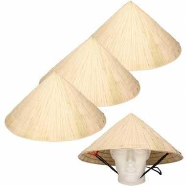 4x chinese stro hoeden / chinees hoedje met kinband