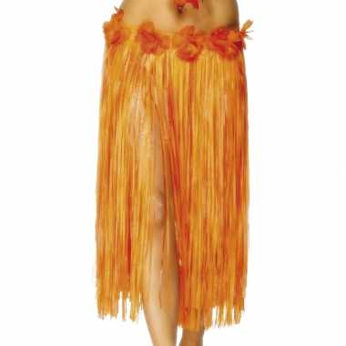 4x stuks oranje hawaii verkleed verkleedkleren met bloemen