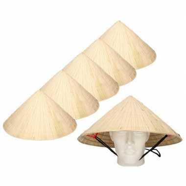 6x chinese stro hoeden / chinees hoedje met kinband