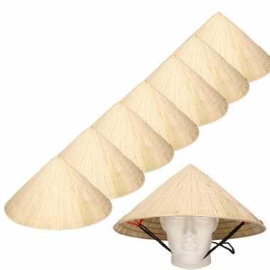 8x chinese stro hoeden / chinees hoedje met kinband