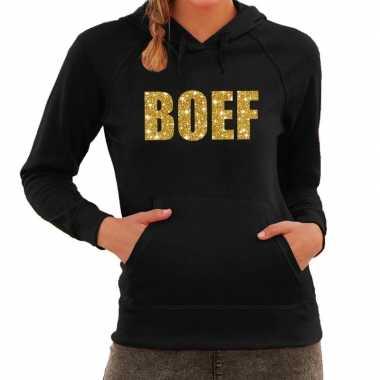 Boef goud glitter tekst hoodie zwart dames