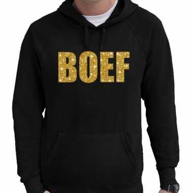 Boef goud glitter tekst hoodie zwart voor heren