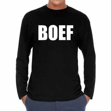 Boef long sleeve t shirt zwart voor heren