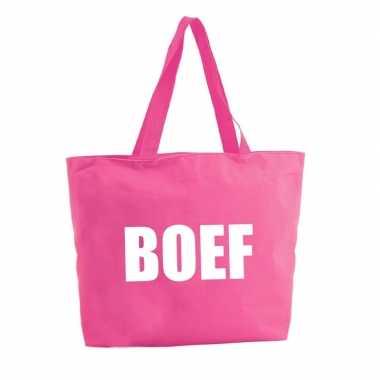 Boef shopper tas fuchsia roze 47 cm