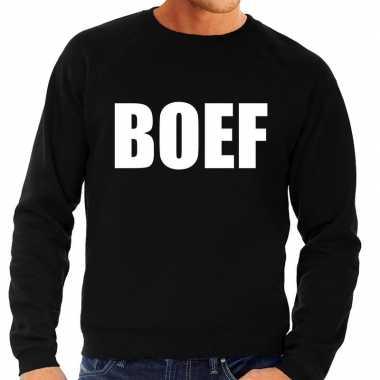 Boef tekst sweater / trui zwart voor heren