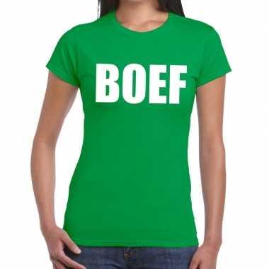 Boef tekst t shirt groen dames