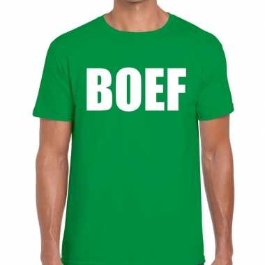 Boef tekst t shirt groen heren