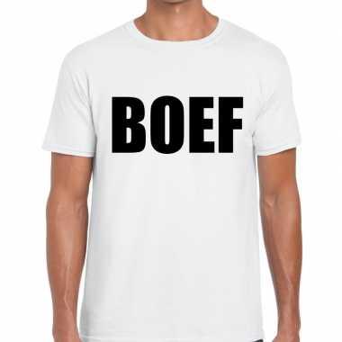 Boef tekst t shirt wit voor heren