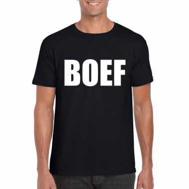 Boef tekst t shirt zwart heren