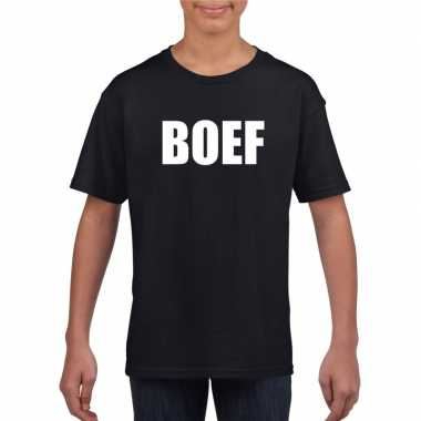 Boef tekst t shirt zwart kinderen