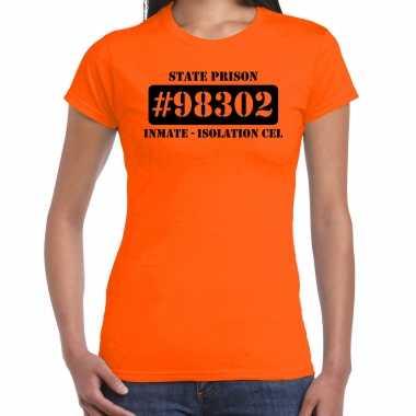 Boeven / gevangenen isolation cel verkleed shirt oranje dames