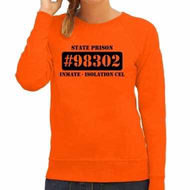 Boeven / gevangenen isolation cel verkleed sweater oranje dames