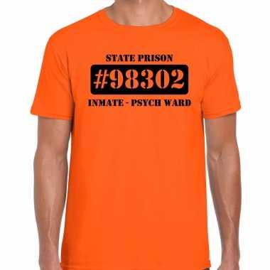 Boeven / gevangenen psych ward verkleed shirt oranje heren