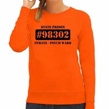Boeven / gevangenen psych ward verkleed sweater oranje dames