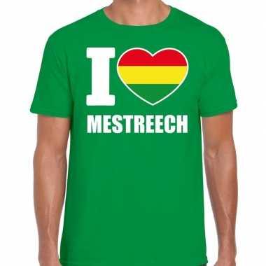 Carnaval i love mestreech t shirt groen voor heren