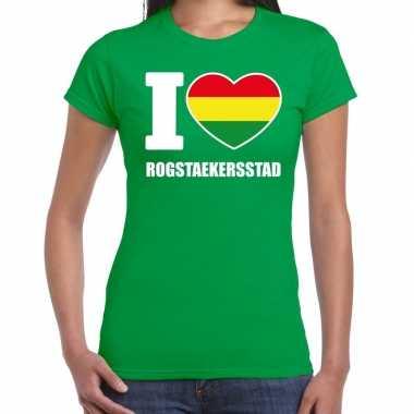 Carnaval i love rogstaekersstad t shirt groen voor dames