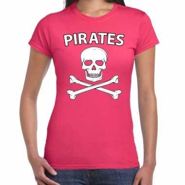Fout piraten shirt / foute party verkleed shirt roze dames