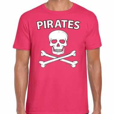 Fout piraten shirt / foute party verkleed shirt roze heren