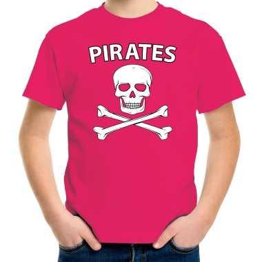Fout piraten shirt / foute party verkleed shirt roze voor kids