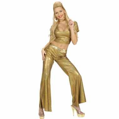 Glimmende gouden damesbroek