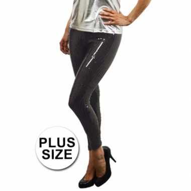 Grote maat zwarte legging met pailletten