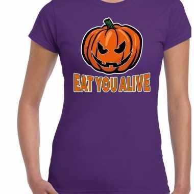 Halloween eat you alive verkleed t shirt paars voor dames
