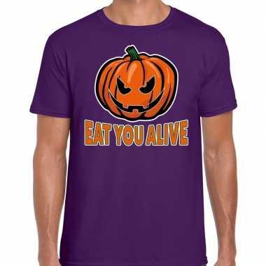 Halloween eat you alive verkleed t shirt paars voor heren