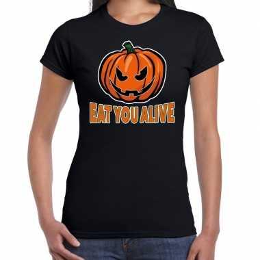 Halloween eat you alive verkleed t shirt zwart voor dames