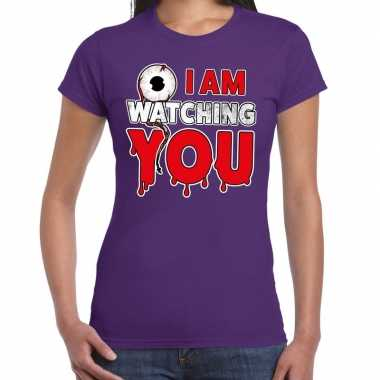 Halloween i am watching you verkleed t shirt paars voor dames