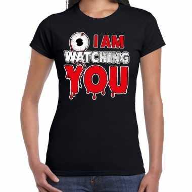Halloween i am watching you verkleed t shirt zwart voor dames