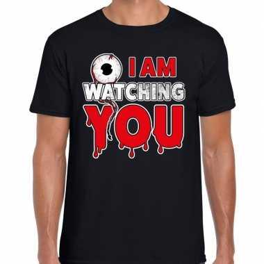 Halloween i am watching you verkleed t shirt zwart voor heren