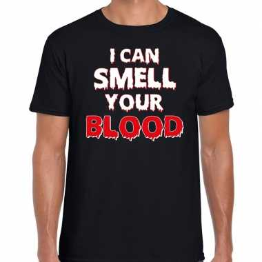 Halloween i can smell your blood verkleed t shirt zwart heren