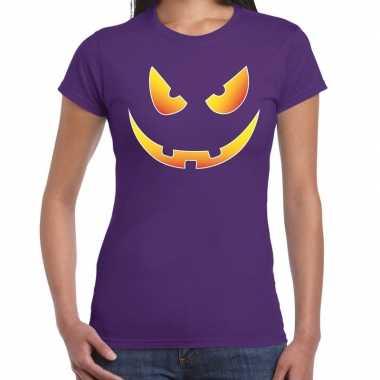 Halloween scary face verkleed t shirt paars voor dames
