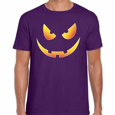 Halloween scary face verkleed t shirt paars voor heren