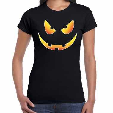 Halloween scary face verkleed t shirt zwart voor dames