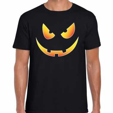 Halloween scary face verkleed t shirt zwart voor heren