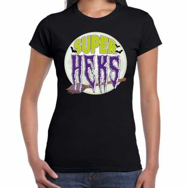 Halloween super heks verkleed t shirt zwart voor dames