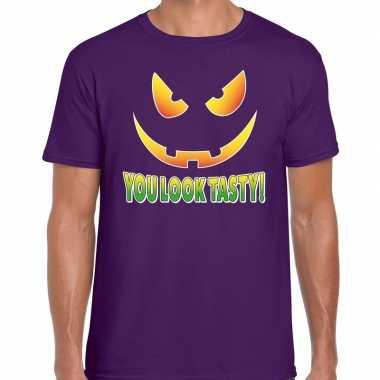 Halloween you look tasty verkleed t shirt paars voor heren