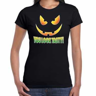 Halloween you look tasty verkleed t shirt zwart voor dames