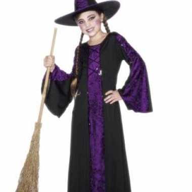 Heksen kinder verkleedkleren zwart/paars