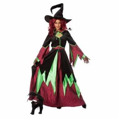 Heksen verkleedkleren groen/rood vrouwen