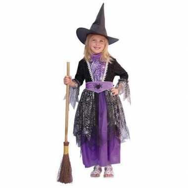 Heksen verkleedkleren zwart/paars kinderen