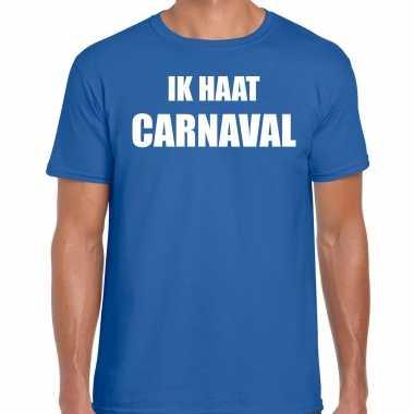 Ik haat carnaval verkleed t shirt / verkleedkleren blauw voor heren