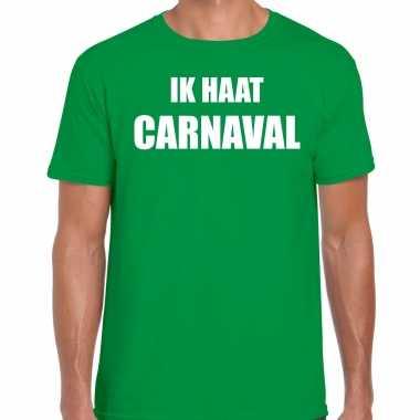 Ik haat carnaval verkleed t shirt / verkleedkleren groen voor heren