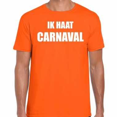 Ik haat carnaval verkleed t shirt / verkleedkleren oranje voor heren